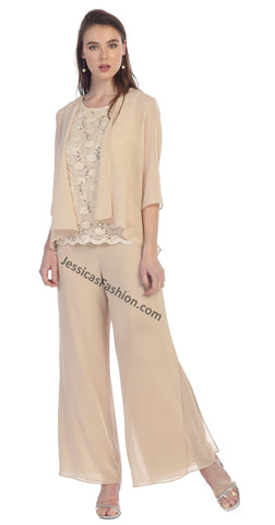 Sleeveless Lace Top Chiffon Pants With Quarter Sleeve Jacket- LASF8844