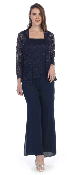 Long Sleeve Jacket Lace & Sequins Top Chiffon Pants Set- LASF8850
