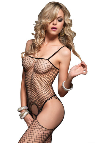 Sexy Seamless Industrial Net Fishnet Suspender Bodystocking Leg Avenue- LA89016