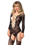 Flora Criss Cross Leg Avenue Body Stocking Sexy Lingerie- LA89133