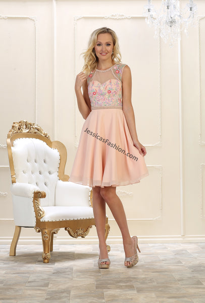Sleeveless Beaded & Rhinestone Short Chiffon Dress- LAMQ1535