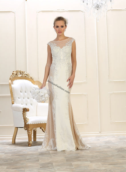 Cap sleeve embroidere & rhinestones mesh long bridal dress- LARQ7626B
