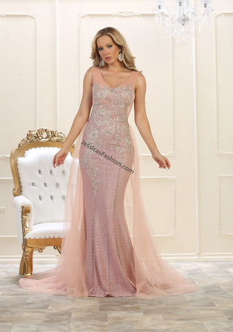 Sleeveless Lace Applique & Rhinestone Long Mesh Dress- LARQ7563