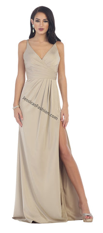 Shoulder Straps Pleated Chiffon Dress With High Front Slit- LAMQ1469