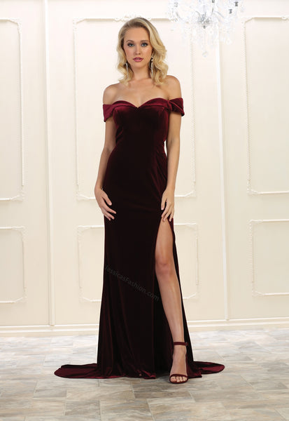 Off Shoulders Velvet Dress With High Front Slit- LARQ7533