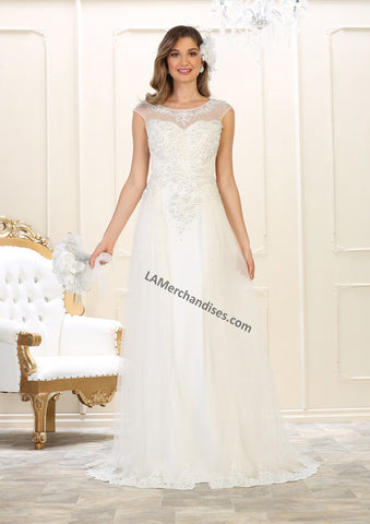 Cap Sleeve Lace Applique & Rhinestone Mesh Bridal Dress- LARQ7552B