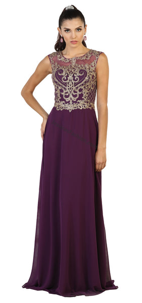 Sleeveless Metallic Lace Applique & Long Chiffon Dress- MQ1513