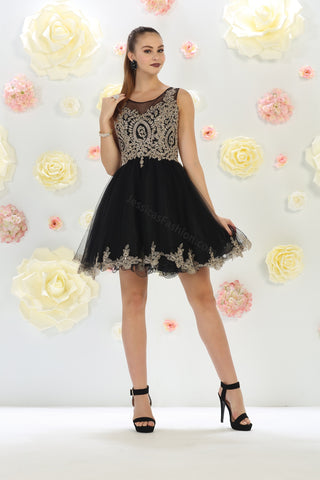 Sleeveless Metallic Lace & Rhinestone Short Mesh Dress- LAMQ1434
