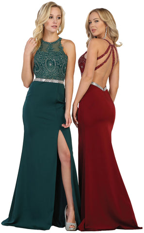 Low Back Rhinestones & Ity Dress With Front Slit - MQ1536