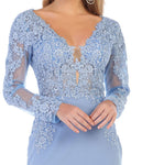 Long Sleeve Lace Applique & Rhinestone Long Ity Dress- LAMQ1630