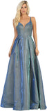 Criss Cross Straps Long Taffeta Dress - RQ7759