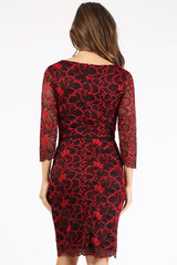 Long Sleeve Lace & Embroiderer Short Dress- LAGA2108