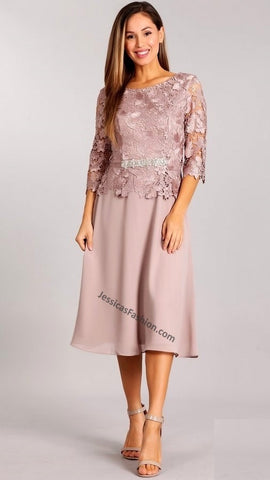 Quarter Sleeve Lace & Rhinestone Short Satin Dress- LAGA2358