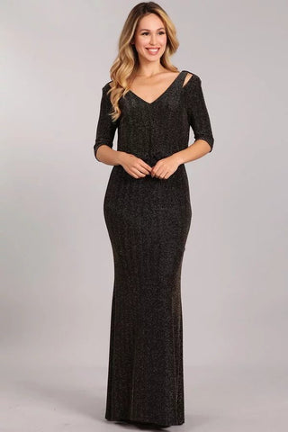 3/4 Sleeve Long Glitter Ity Dress- LAGA2472