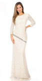 3/4 Sleeved long Sheer Lace Dress- LA5209