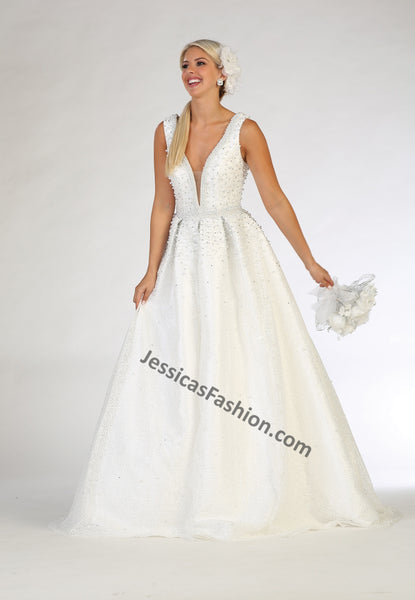 Sleeveless Pearls & Meas Bridal Dress- LALK112B