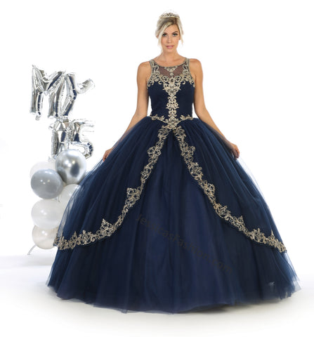 Sleeveless Embroiderer & Rhinestone Mesh Quincenera Dress- LALK117