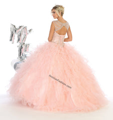 Sleeveless Embroiderer & Rhinestone Organza Dress- LALK124
