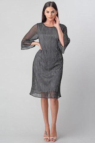 3/4 Sleeve Metallic Midi Dress