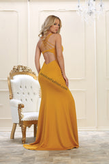 Shoulder Straps Satin Low Back With Front Slit- LAMQ1561