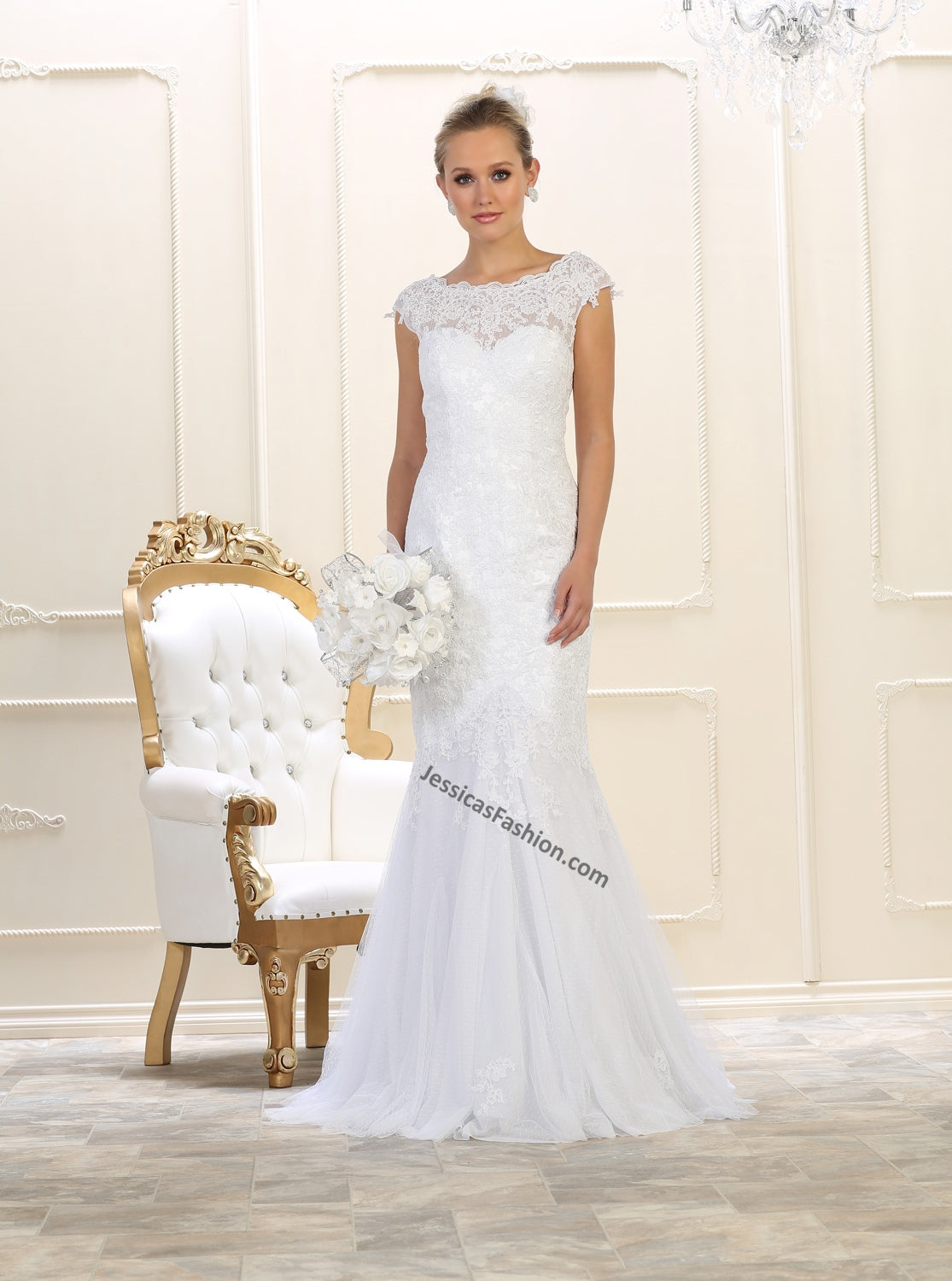 52b37e0ded62d Cap Sleeve Lace Applique & Rhinestone Mesh Wedding Gown- LAMQ1564. Hover to  zoom