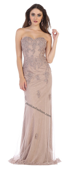 Strapless Lace Applique & Rhinestone Long Mesh Dress- LAMQ1585
