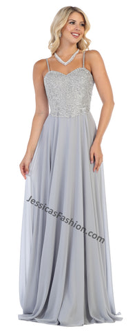 Spaghetti Straps Lace Applique & Rhinestone Long Chiffon Dress- LAMQ1588