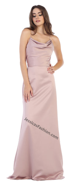 Criss Cross Long Low Back Satin Dress- LAMQ1594