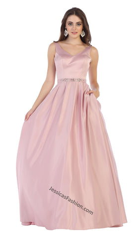 Sleeveless Rhinestone Long Satin Dress- LAMQ1595