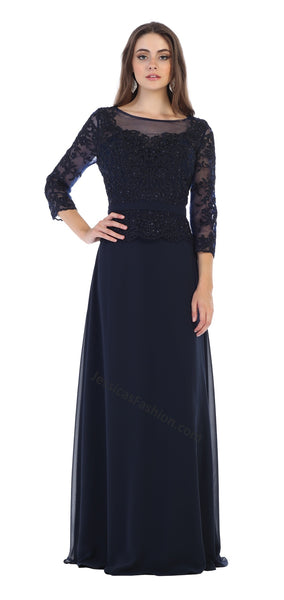 Quarter Sleeve Lace Applique & Rhinestone Chiffon Dress- LAMQ1599