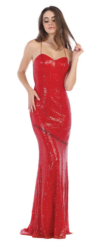 Criss Cross Fully Sequins Low Back Long Dress- LAMQ1600