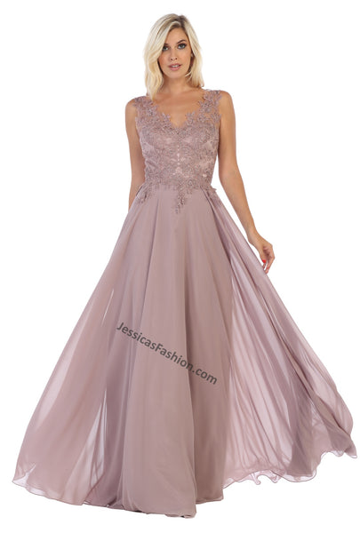 Sleeveless Lace Applique & Rhinestone Long Chiffon Dress- LAMQ1610