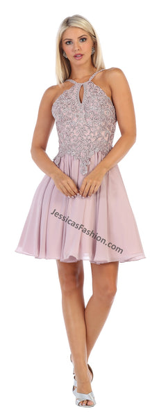 Shoulder Straps Lace Applique & Rhinestone Short Sassy Chiffon Dress- LAMQ1614