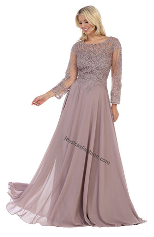 Long Sleeve Embroiderer & Rhinestone Long Chiffon Dress- LAMQ1615