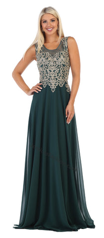 Sleeveless Lace Applique & Rhinestone Long Chiffon Dress- LAMQ1616