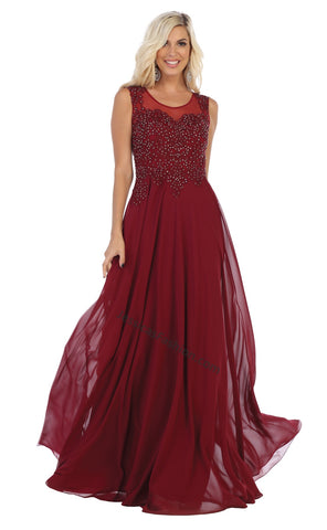 Sleeveless Embroiderer & Rhinestone Long Chiffon Dress- LAMQ1620