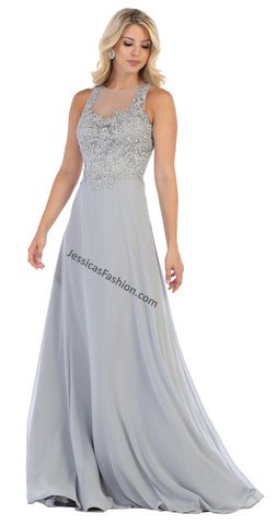 Sleeveless Lace Applique & Rhinestone Chiffon Dress- LAMQ1621
