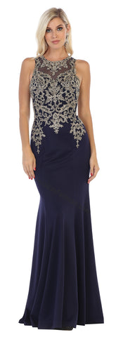 Sleeveless Lace Applique & Rhinestone Long Ity Dress- LAMQ1629