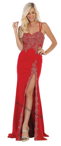 Criss Cross Lace Applique & Rhinestone Ity Dress With Front Slit- LAMQ1633