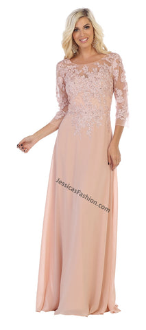 Quarter Sleeve Lace Applique & Rhinestone Long Chiffon Dress- LAMQ1637