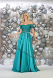 Off Shoulder Embroiderer & Rhinestone Ballgown With Side Pockets- LAMQ1639