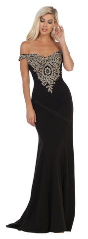 Off Shoulder Lace Appliques & Rhinestone Long Ity Dress- LAMQ1640
