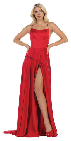 Criss Cross Straps Full Length Satin Dress With High Front Slit- LAMQ1642