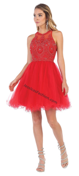Halter Lace Applique & Rhinestone Short Sassy Mesh Dress- LAMQ1643