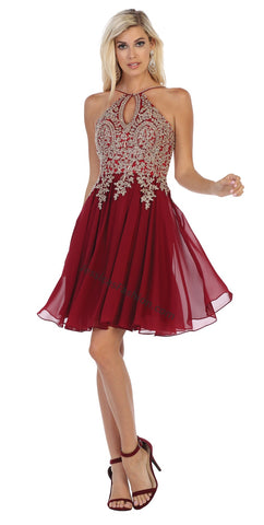 Halter Lace Applique & Rhinestone Short Chiffon Dress- LAMQ1646