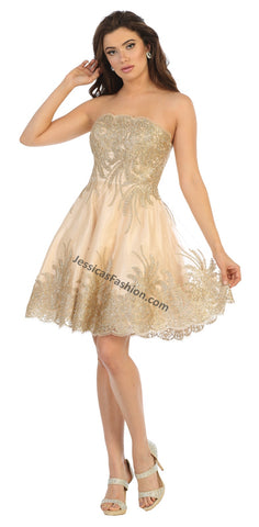 Strapless Embroiderer & Sequins Short Organza Dress- LAMQ1650