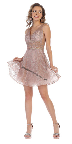 Sleeveless Rhinestone Short Mesh Dress- LAMQ1653