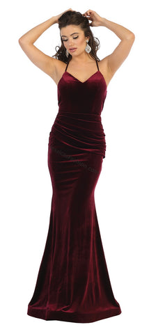 Criss Cross Low Back Long Velvet Dress- LAMQ1656