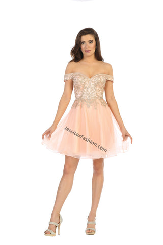 Off Shoulder Rhinestone Short Sassy Organza Dress- LAMQ1659