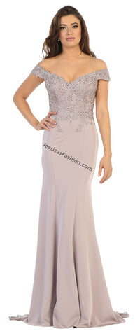 Off Shoulder Embroiderer & Rhinestone Long Ity Dress- LAMQ1675